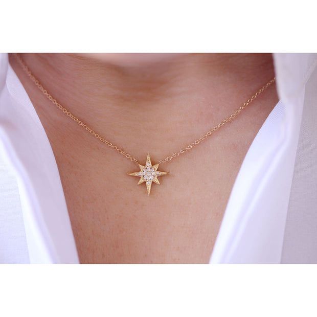 14K Solid Gold Round Diamond Starburst Polaris Necklace Model