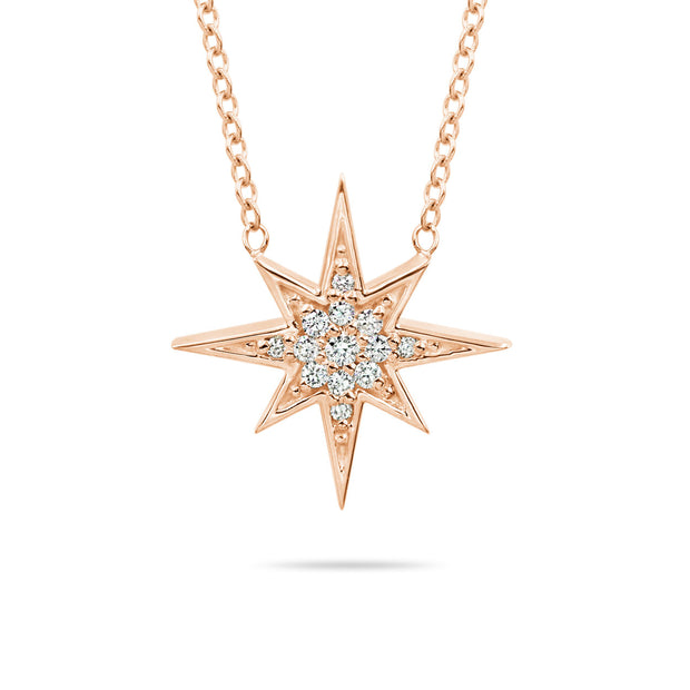 14K Solid Gold Round Diamond Starburst Polaris Necklace Rose Gold