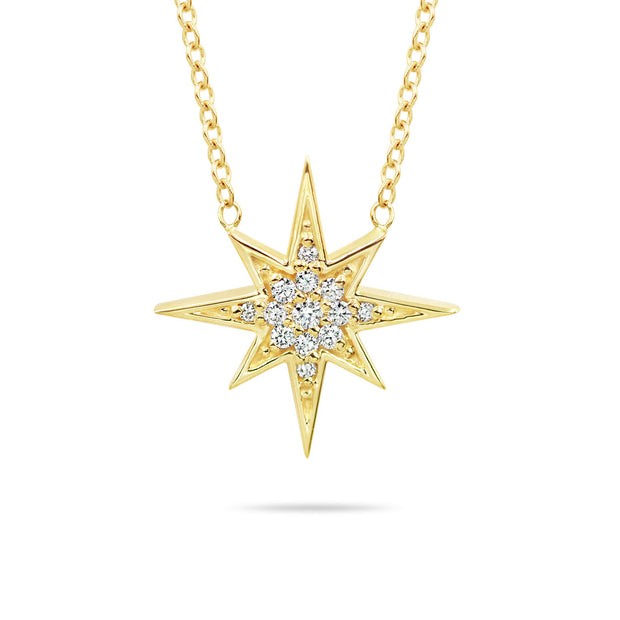 14K Solid Gold Round Diamond Starburst Polaris Necklace