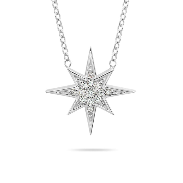 14K Solid Gold Round Diamond Starburst Polaris Necklace White Gold