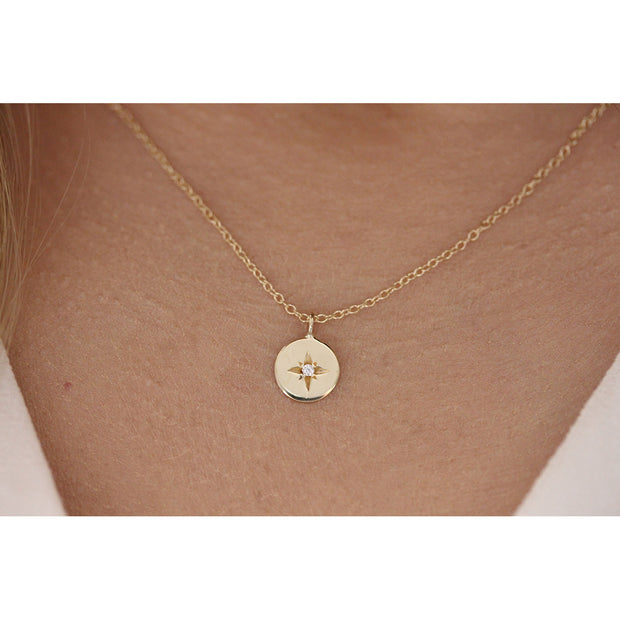 14K Solid Gold Polaris Star Disc Pendant Necklace Model 2
