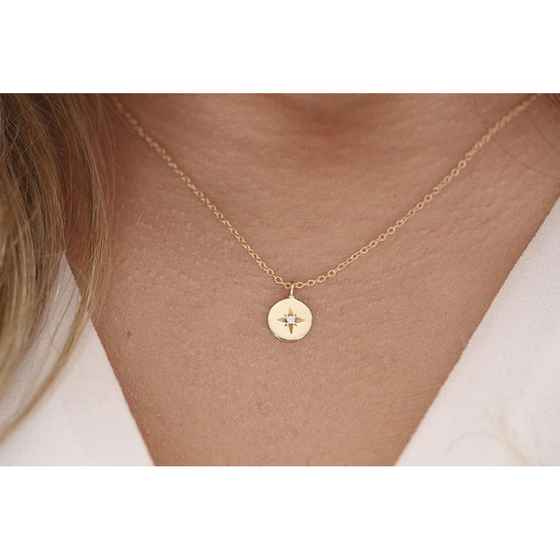 14K Solid Gold Polaris Star Disc Pendant Necklace Model1
