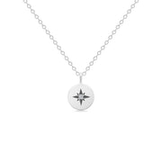 14K Solid White Gold Polaris Star Disc Pendant Necklace