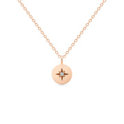 14K Solid Rose Gold Polaris Star Disc Pendant Necklace