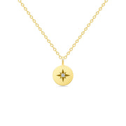 14K Solid Gold Polaris Star Disc Pendant Necklace