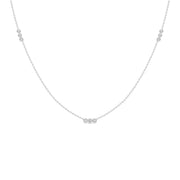 14K Solid White Gold Three Diamond Bezel By Yard Necklace