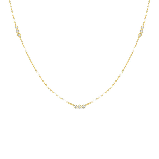 14K Solid Gold Three Diamond Bezel By Yard Necklace