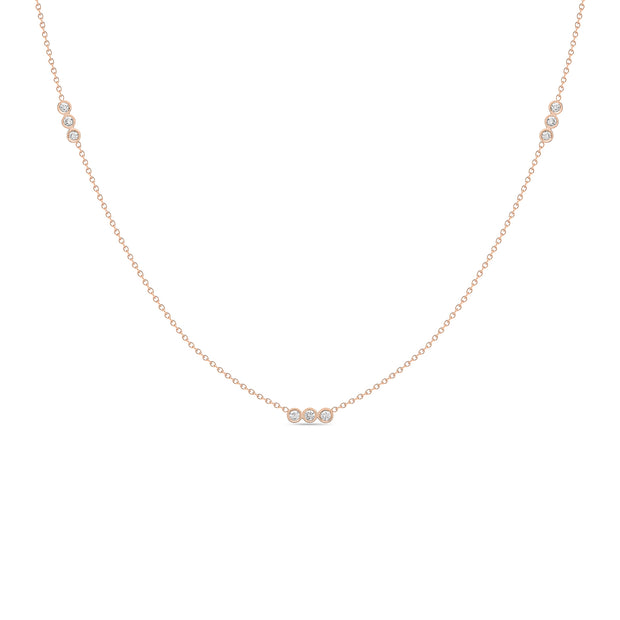 14K Solid Rose Gold Three Diamond Bezel By Yard Necklace