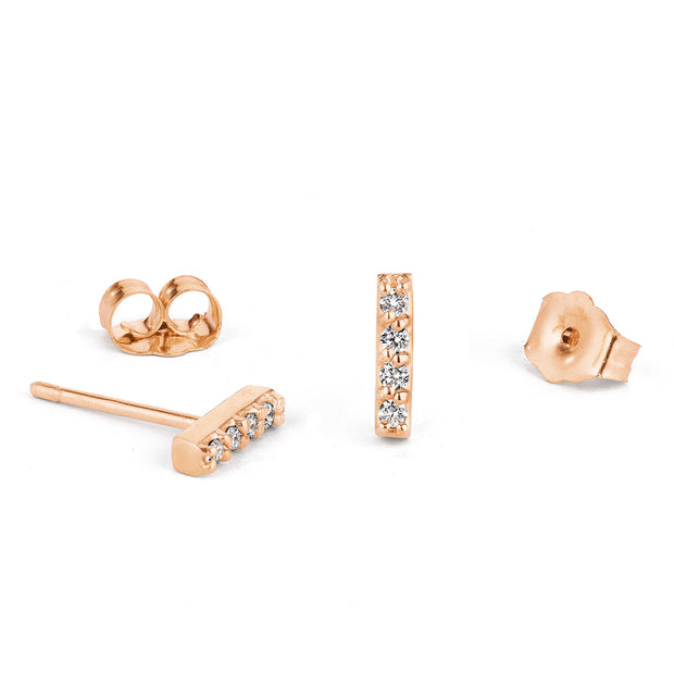 14K Solid Gold Five Diamond Bar Studs Rose Gold