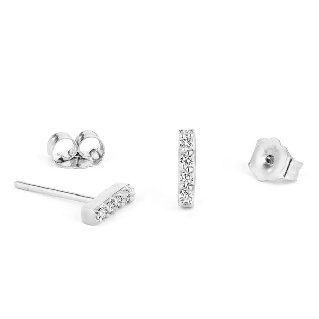 14K Solid Gold Five Diamond Bar Studs White Gold