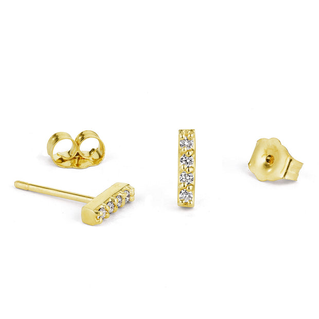14K Solid Gold Five Diamond Bar Studs