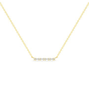 14K Solid Gold Baguette Round Diamond Prong Set Bar