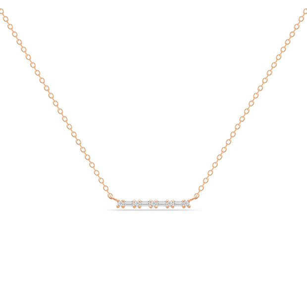 14K Solid Rose Gold Baguette Round Diamond Prong Set Bar