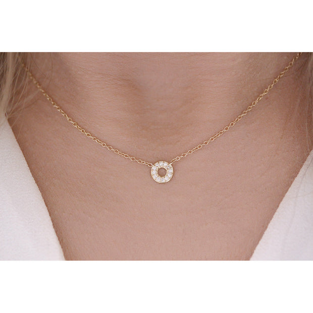 14K Solid Gold Diamond Tiny Karma Halo Necklace Model 3