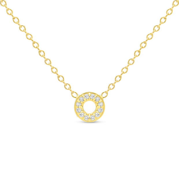 14K Solid Gold Diamond Tiny Karma Halo Necklace