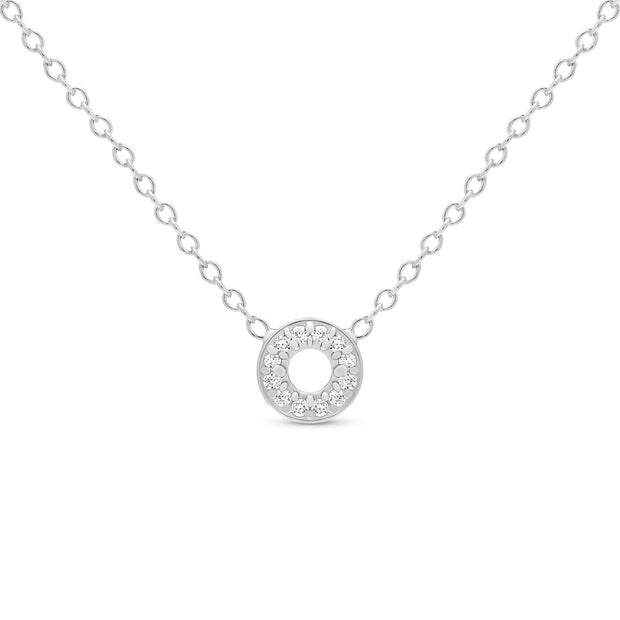 14K Solid Gold Diamond Tiny Karma Halo Necklace White Gold