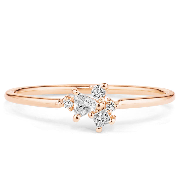 14K Solid Gold Multishape Trillion Round Brilliant Cut Diamond Cluster Ring Rose Gold