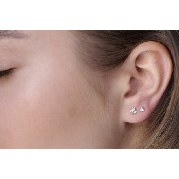 14K Solid Gold Trio Diamond Studs Model 1