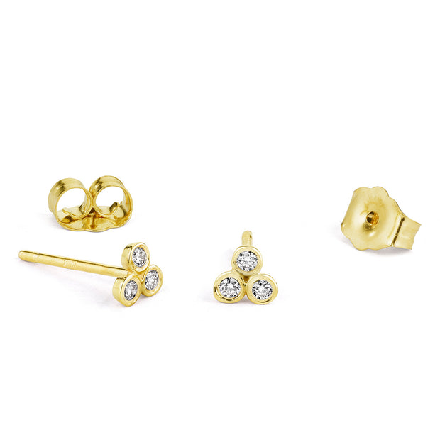 14K Solid Gold Trio Diamond Studs