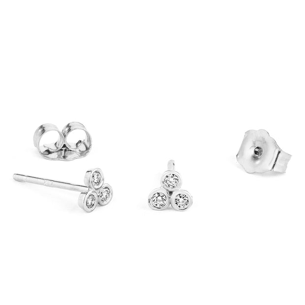 14K Solid Gold Trio Diamond Studs White Gold