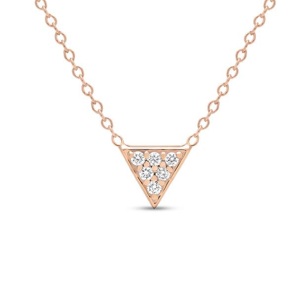 14K Solid Gold Diamond Trillion Pave Necklace Rose Gold