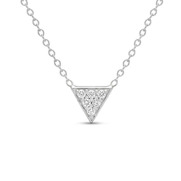 14K Solid Gold Diamond Trillion Pave Necklace White Gold
