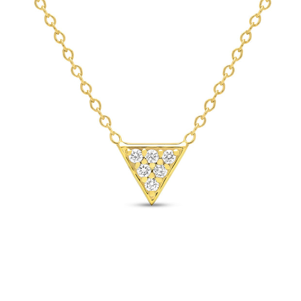 14K Solid Gold Diamond Trillion Pave Necklace