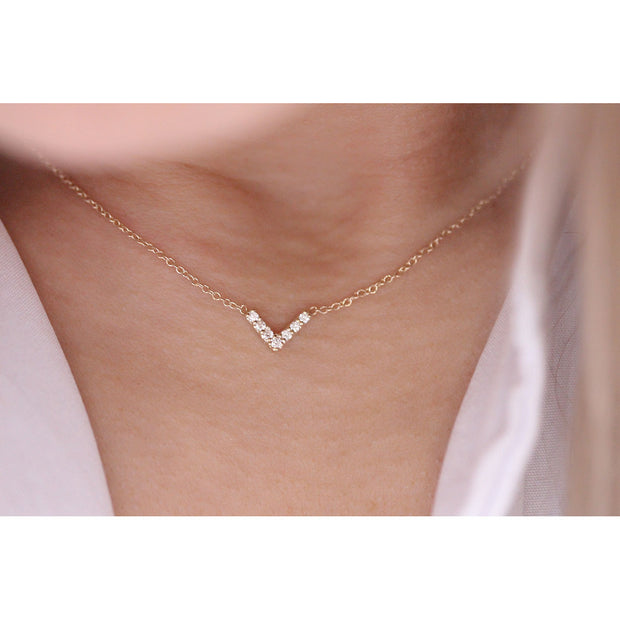 14K Solid Gold Diamond Chevron Minimalist Necklace Model 2