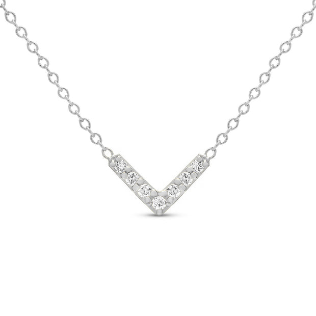 14K Solid Gold Diamond Chevron Minimalist Necklace White Gold