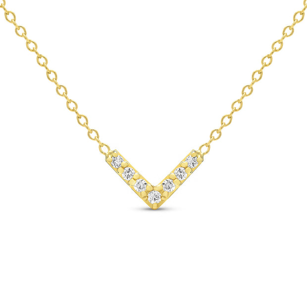 14K Solid Gold Diamond Chevron Minimalist Necklace