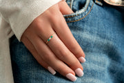 14K Solid Gold Single Prong Three Stone Emerald Diamond Stackable Band