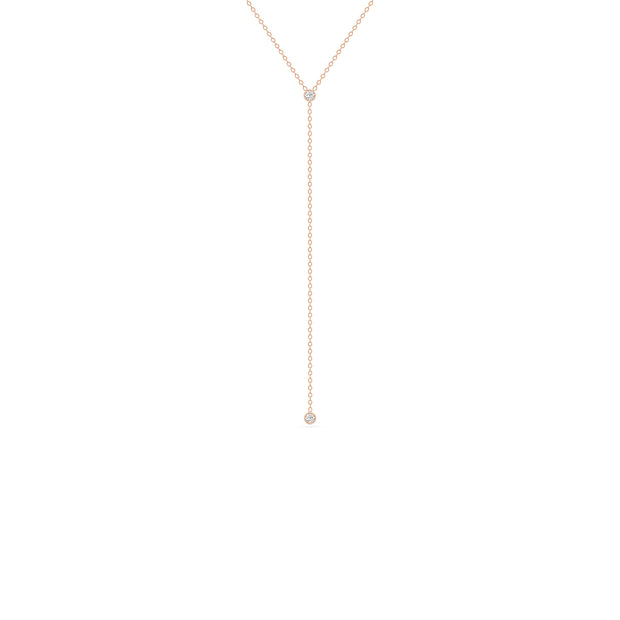 14K Solid Gold Round Brilliant Cut Bezel set Diamond Lariat Necklace