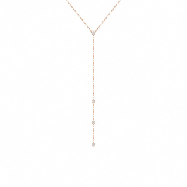 14K Solid Gold Pear Shape Bezels Diamond Lariat Necklace