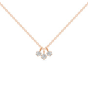 14K Solid Gold Three Dangling Diamonds Prong set  Necklace