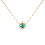 14K Solid Gold Emerald Diamond Cluster Necklace
