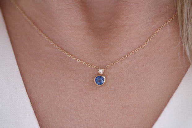14K Solid Gold Sapphire Bezel Single Diamond Necklace