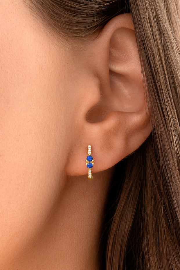 14K Solid Gold Blue Sapphire Sweetheart Pave Diamond Hoops