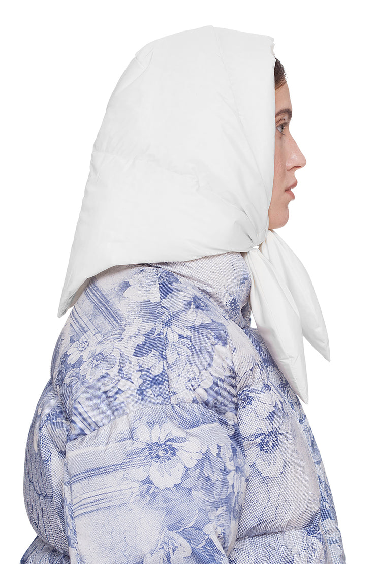 Пуховый шарф Vegan Hustka Hood Shell White