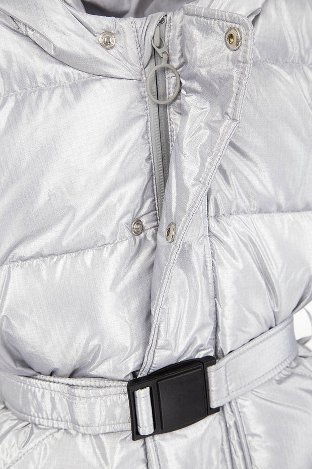 Yenki kids belted Puffer electric silver