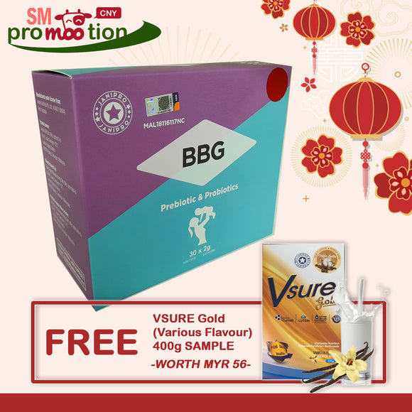 CNY SALE: BBG Prebiotic & Probiotics (FREE Vsure Gold SAMPLE)