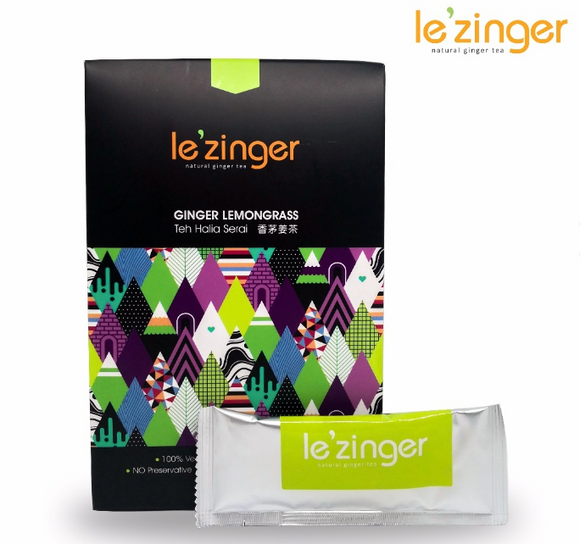 Le'zinger Ginger Lemongrass with Organic Cane Sugar & Molasses (12 Sachets)