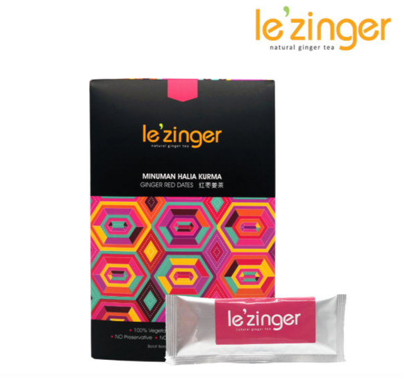 Le'zinger Ginger Red Dates with Organic Cane Sugar & Molasses (12 Sachets)