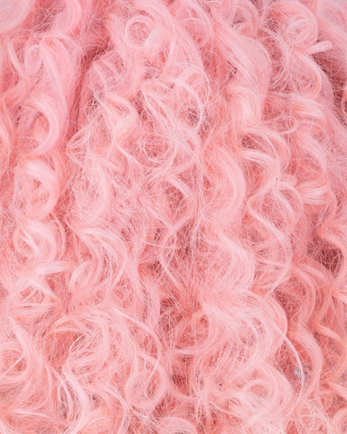 Temper by Nyané nyane Lebajoa wearing colour swatch pink blush baby curl bubblegum pink full lace wig