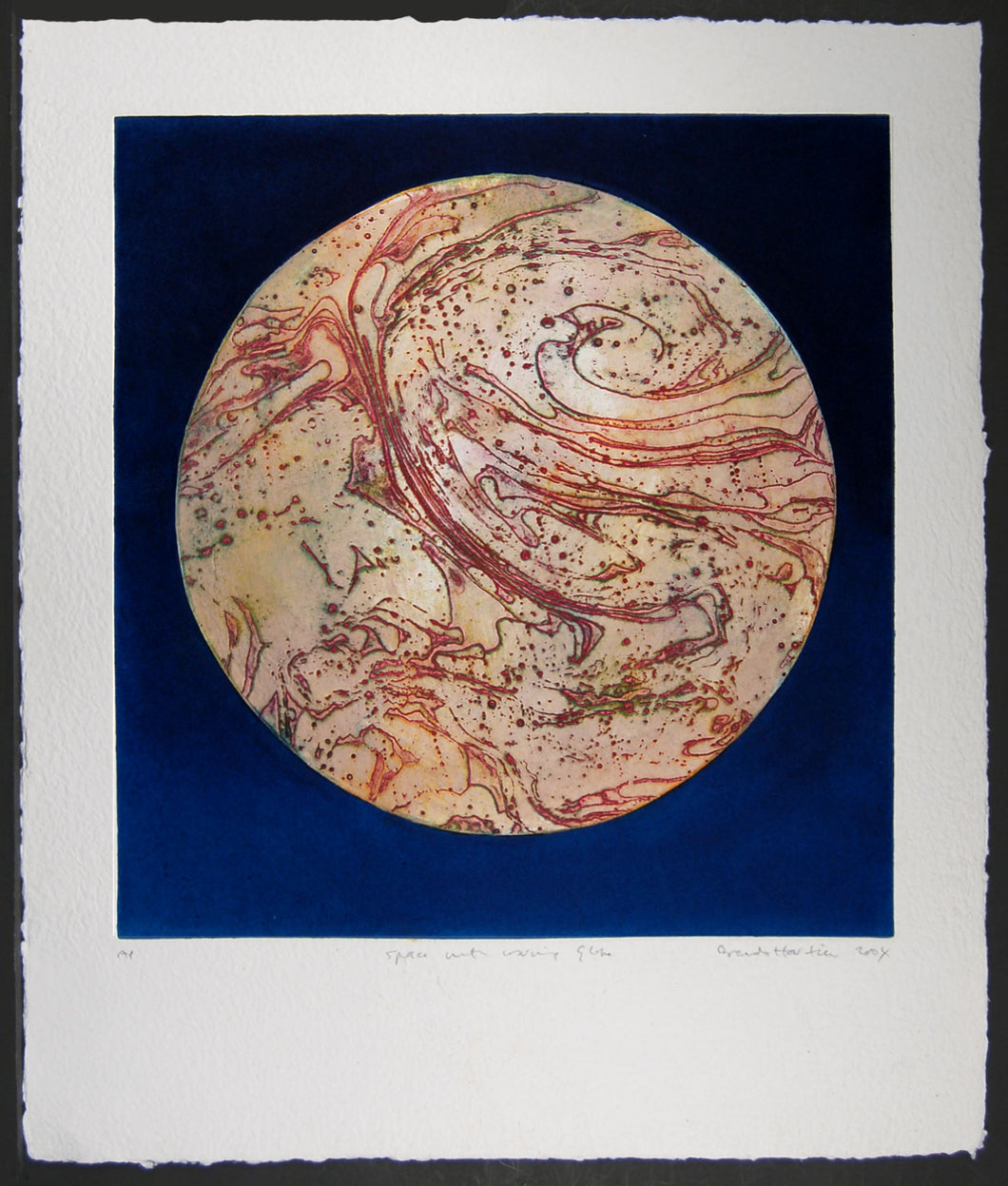 Space with Red Warming Globe