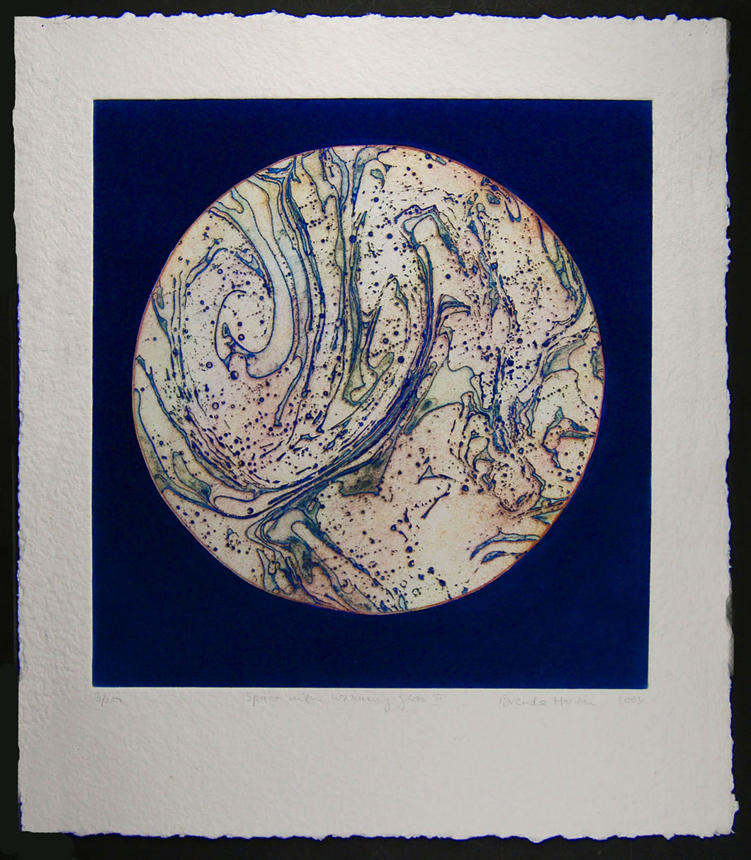Space with Blue Warming Globe
