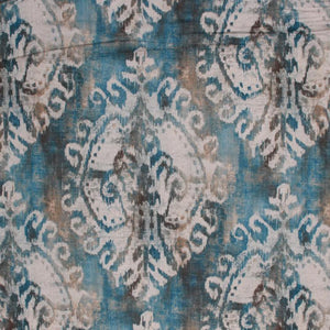 Ombre Linen Viscose Medallion Ikat Drapery Fabric Blue Navy / Nile RMIL1