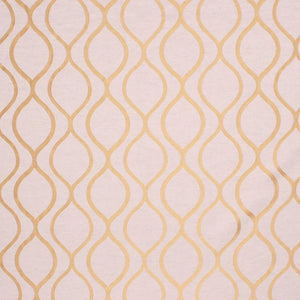 Embroidered Faux Silk Ogi Trellis Drapery Fabric  / Gold RMIL1