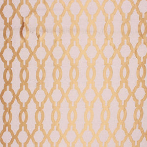 Embroidered Faux Silk Ogi Trellis Drapery Fabric Honey Beige / Gold RMIL1