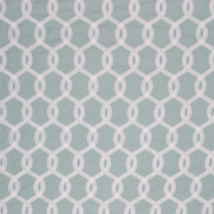Embroidered Faux Linen Ogi Trellis Semi Sheer Drapery Fabric Teal Blue /  Cloud RMIL1