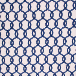 Embroidered Faux Linen Ogi Trellis Semi Sheer Drapery Fabric Blue /  Navy RMIL1